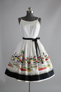 1950's Cotton Sundress. Love the border print...
