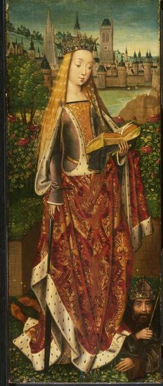 Saint Catherine of Alexandria, with the Defeated Emperor (c.1482). Probably the left wing of a triptych. Master of the Legend of Saint Lucy (Netherlandish, active Bruges, active c.1470-c.1500). Oil on panel. Philadelphia Museum of Art.