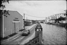 Morgan City, Louisiana - Floodwall modified with mud boxes for 1973 flood Morgan City Louisiana, Vintage Pictures, Old Town, Mud, Boxes, Street View, Old City, Crates, Box