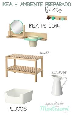 The bench! Use it for the kitchen with the pitcher (already have) and the other shelf in the bathroom for rinse cup and toothbrush/paste Ikea Montessori, Montessori Toddler Rooms, Montessori Bedroom, Montessori Education, Maria Montessori, Montessori Activities, Baby Activities, Baby Education, Ikea Ps 2014