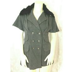 *Reduced Price* Grey Jacket/Vest W/Fur Collar S Line Grey Jacket/Vest has a detachable faux fur collar, front pockets, button front.  90% polyester 10% wool.  Fits size M/L.  Preowned. Excellent condition S  Line Jackets & Coats Capes