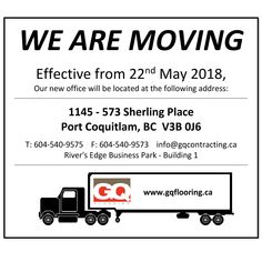We're Moving!!!  Effective from 22nd May 2018, Our new office will be located at the following address:  1145 - 573 Sherling Place Port Coquitlam, BC  V3B 0J6  T: 604-540-9575    F: 604-540-9573    info@gqcontracting.ca River's Edge Business Park - Building 1 Events, Park, Business, Building, Buildings, Parks, Store, Business Illustration, Construction