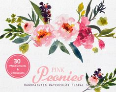 Digital Clipart Watercolor Flower Peonies Clip Art Floral Bouquet Wedding Flowers