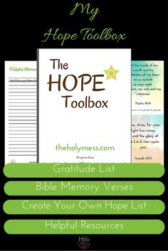 Do you deal with depression? Bouts of sadness? Seasonal Affective Disorder (SAD)? Postpartum depression? Anxiety or Panic? If so, My Hope Toolbox Printable Kit for Depression and Sadness is a printable download that will provide you the practical, specific tools to make small, specific steps toward progress, hope, and healing. Ready to download and get started. Click now.