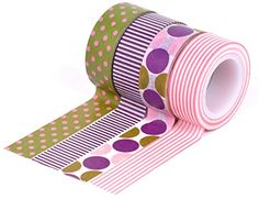 nice HIART Repositionable Washi Tape, Dots and Stripe, Purple/Pink, Set of 4