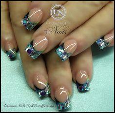 Luminous Nails: Purple, Blue & Silver Treasure Nails