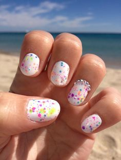 I'm obsessed with 'Feature' nails when I'm down the beach. This 'Clowning Around' I bought rom 'Lush Lacquer' (Etsy) on top of white looks great in the sun. Add some diamonds on the ring finger for added cheekiness.