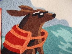 NEW JELLYBEAN INDOOR OUTDOOR RUG MACHINE WASHABLE 35% RECYCLED SURFING DOG RUG