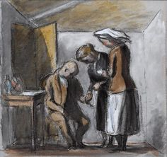 A Patient in a Medical Aid Post Watercolour: Ardizzone, Edward Jeffrey Irving 1941 image: A man si. Edward Ardizzone, Children's Book Illustration, Book Illustrations, Holly Dolly, Peter Paul Rubens, Medicine Bottles, Man Sitting, Illustrators, Watercolour