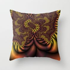 Flaming Roots fractal Throw Pillow by Christy Leigh - $20.00