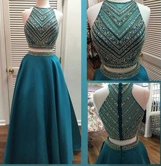 Two Pieces Beaded Unique Teal Green Long Prom Dresses, The long prom dress is fully lined, 4 bones in the bodice, chest pad in the bust, lace up back or zipper back are all available. This dress A Line Prom Dresses, Prom Dresses Online, Cheap Prom Dresses, Evening Dresses, Formal Dresses, Homecoming Dresses, Dresses 2016, Formal Prom, Formal Wear