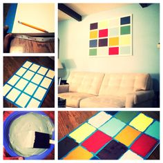 Easy DIY art project. Huge 24x36 canvas on sale at Michael's for only $16! Acrylic paints, painters tape and foam brushes. Needed some color on that wall. Diy Canvas Art, Acrylic Painting Canvas, Diy Painting, Foam Paint Brush, Diy Art Projects, Painters Tape, Wall Decorations, Fun Art, Inspiring Art