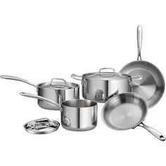 Tramontina 8-Piece 18/10 Stainless Steel Tri-Ply Clad Cookware Set $109.97