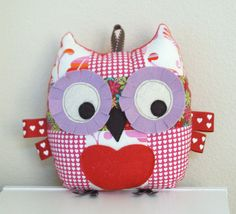 Valentine Patchwork Owl Pillow Stuffed Toy with door angiebabygifts