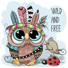 Cute tribal Owl and bird with feathers. Cute Cartoon tribal Owl and bird with feathers vector illustration Vogel Clipart, Bird Clipart, Cartoon Drawings, Animal Drawings, Cute Drawings, Cute Owl Drawing, Owl Drawings, Cute Cartoon Animals, Baby Cartoon