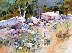 Meadow Edge Fence Line by Bridget Austin. Watercolor.