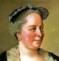 Detail from a portrait of Empress Maria Theresia of Austria by Jean-Étienne Liotard. Isis' Wardrobe: 18th century wired caps