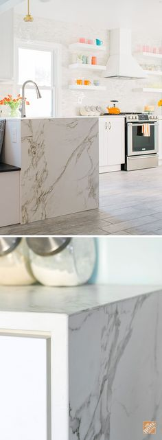 HOME DEPOT! This waterfall edge countertop looks like on-trend Calacatta Marble. But this ultra-compact Dekton material is more durable and so much easier to clean. And we can install it for you! Browse more Dekton countertops at The Home Depot. New Kitchen Cabinets, Kitchen Redo, Kitchen Countertops, Kitchen And Bath, Kitchen Storage, Kitchen Remodel, Kitchen Design, Kitchen Ideas, Kitchen Magic