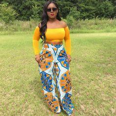 "8cd5368628a24f Jessica Denise on Instagram  ""❣️Mustard Off Shoulder Crop Top ❣️Nataya African  Print Wide Leg Pants from  grass fields ❤ """