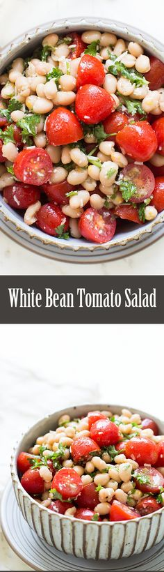 White bean and cherry tomato salad with a dressing of rosemary infused olive oil, garlic, Parmesan, anchovies, and lemon. So EASY! On SimplyRecipes.com