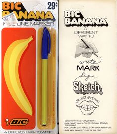 Bic - Banana fine line marker pen - blue alt - package - 1973 by JasonLiebig, via Flickr