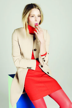 J Crew - Color Blocking - Red dress paired with pink stockings.