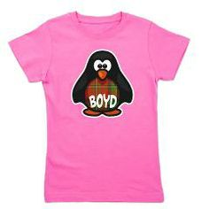 Scottish penguin with the Boyd clan tartan and family name. Cute gifts for baby, kids, and grownups! Great for birthday, holiday or any occasion.