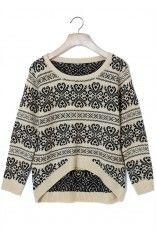 Vintage Pattern Beige Knit Sweater