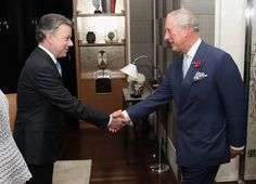 Prince Charles, Prince of Wales greets President of Colombia Juan Manuel Santos and his wife María Clemencia Rodríguez Múnera in their suite at the Rosewood hotel during a State visit on November 1, 2016 in London, England.