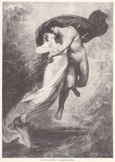"""Ludwig von Hofmann-Zeitz. """"Francesca da Rimini und Paolo Malatesta über dem Höllenabgrund"""" (""""Francesca da Rimini and Paolo Malatesta above the Hell Abyss""""). A 1911 printed and published art print Web Gallery Of Art, Ludwig, Painting, Rock Bottom, Painting Art, Paintings, Painted Canvas, Drawings"""