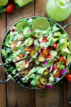 Looks amazing!!! Grilled Chicken Taco Salad with Spicy Cilantro Lime Dressing