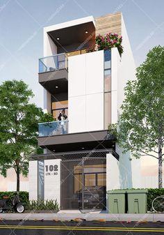 Nhà phố mặt tiền 4,5m hiện đại Best Modern House Design, Classic House Design, Modern Exterior House Designs, Duplex House Design, Small Modern Home, Small House Design, Exterior Design, Modern House Facades, Modern Architecture