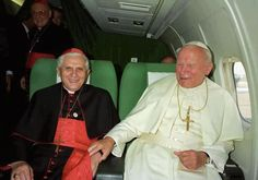Blessed Pope John Paul II and Cardinal Ratzinger <3