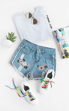 Light Blue Embroidered Ripped Raw Hem Denim Shorts