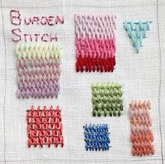 Samples of different embroidery stitches