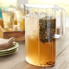 This 101-ounce iced-tea maker and pitcher is great for loose-leaf or bagged teas. The removable filter allows you to brew your tea exaxtly how you like it. Also great for infusing other beverages with citrus or herbal flavors. Made of durable plastic. Washing by hand recommended Please allow 2 weeks for shipping.