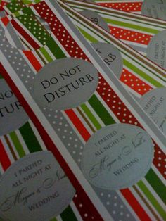 doorhangers for morning after the wedding for guests!
