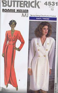 Butterick Pattern  Pattern Number 4351  Copyright: Modern    Misses Double Breasted Dress Pattern    Loose-fitting, lined, tapered, double breasted Dress pattern fitted through waist.  Below mid-knee or evening length center back has extended shoulders, shoulder pads, front and back pleats shaped hemline and long sleeves.