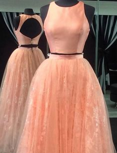 2017 prom dress, two piece prom dresses, pink peach prom dresses,tulle prom dress, lace prom dresses, open back prom dress, backless prom dresses