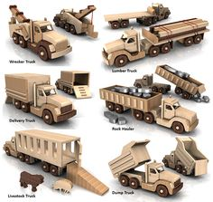 Build the Powerful Pete 6 Truck Fleet Full-Size Wood Toy Plan Set Construa o poderoso Pete 6 Truck Fleet Full-Size Toy Set Plano de madeira Woodworking Toys, Woodworking Projects, Wooden Toy Trucks, Wood Toys Plans, Wooden Diy, Planer, Wood Crafts, Wood Projects, How To Plan