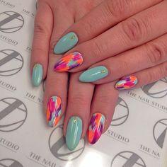 (at The Nail Studio by TO) Toe Designs, Nail Art Designs, Cute Nails, Pretty Nails, Water Color Nails, La Nails, Nail Games, Nail Studio, Professional Nails