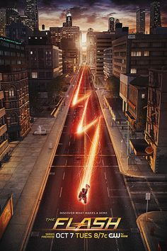 "The Flash :Barry Allen wakes up 9 months after he was struck by lightning and discovers that the bolt gave him the power of super speed. With his new team and powers, Barry becomes ""The Flash"" and fights crime in Central City. Flash Barry Allen, Series Dc, Flash Tv Series, Series Movies, Hd Movies, Horror Movies, The Cw, The Flash Poster, New Poster"