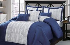 11 Piece Queen Percy Navy and Ivory Bed in A Bag Set | eBay