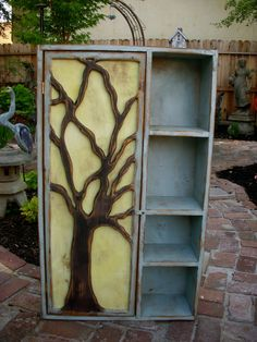Rustic Furniture - Wood Shelf - Oak Tree Cabinet - Artistic Furniture - Storage Shelves -  French Country. $650.00, via Etsy.