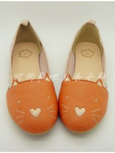 Japanese embroidery pastel kitty flats