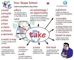 'Take' with collocations.