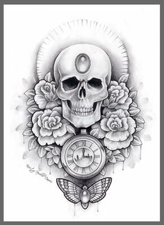 Skull watch and moth thigh tattoo design by kirstynoelledavies on ...