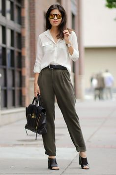 business casual white blouse   black trousers combination