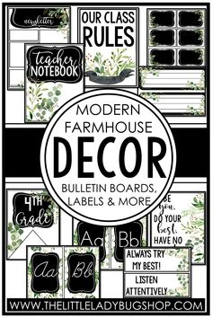 Get ready for back to school with the Modern Farmhouse decor theme! This editable set is beautifully unique and has everything you need to decorate your classroom with a rustic, cohesive look. The perfect DIY bundle for any elementary classroom, including posters, name plates, alphabet posters, teacher notebook, organization labels, bulletin board decor, and more! #thelittleladybugshop