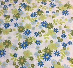 vintage muslin green blue floral full flat sheet retro daisy flower power perma prest bedding by on etsy